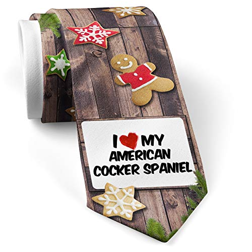 His Christmas NeckTie I Love my American Cocker Spaniel Dog from United States cookie wood print