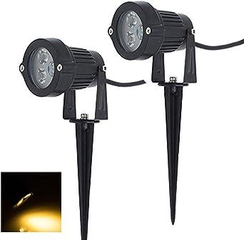 2 x Focos Proyector LED con Estaca Exterior Jardín IP65 3W 220V Blanco Cálido: Amazon.es: Iluminación