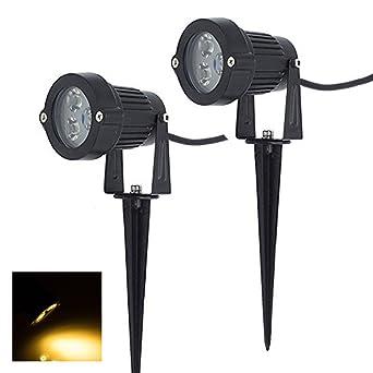 2 x Focos Proyector LED con Estaca Exterior Jardín IP65 3W 220V Blanco Cálido