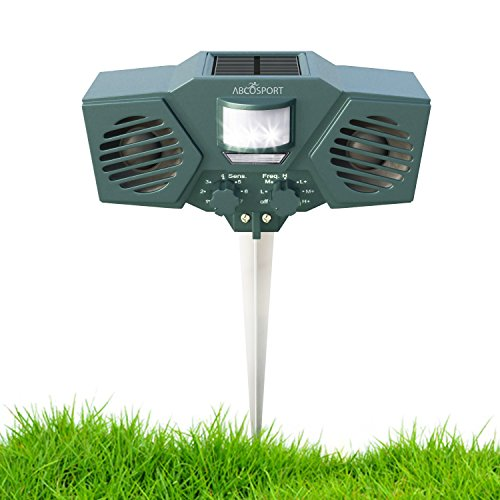 Ultrasonic Solar Animal & Pest Repeller - With 30' Motion Sensor, Flashing LED Light - Pest Control For Raccoon, Cats, Dogs, Deer, Birds - Weather Proof Design - Includes 3 (Cat Stopper)