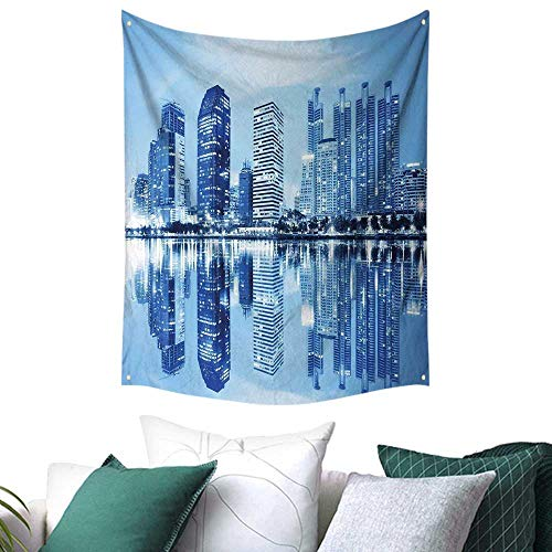 Anshesix Blue Tapestry for Dorm Night Scene of City Buildings Architecture Twilight Water Reflection Metropolitan Home Decor Couch Cover 40W x 60L INCH Blue Pale Blue