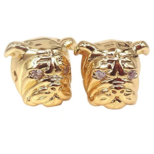 Calvas New Animal Bulldog Head Beads Antique Silver Copper Bronze Charms Pendant Beads for Jewelry Making Bracelet DIY Jewelry Findings - (Color: Gold, Item Diameter: 11X12X13mm) ()