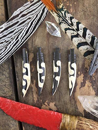 (Dotted Swirl African Batik Bone Dagger Tusk Pendant, Focal Tribal Pendant, Black and White Jewelry Making Supplies, Boho, 10x72mm, 1 Pendant #WSW_9224)
