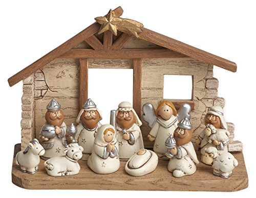 Miniature Kids Nativity Scene with Creche, Set of 12 Rearrangeable Figures -