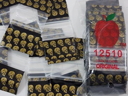12510 Gold Skull 2.5 mil Apple Bag Mini Ziplock Reclosable 100 Baggies Clear Color Colored 100 Bags 12510 1.25