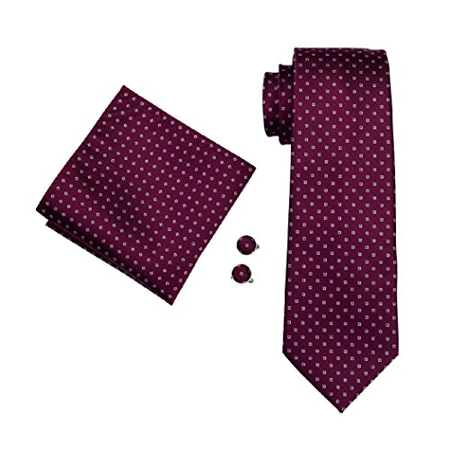 CAOFENVOO N Silk Red Set Tie Hanky Cufflinks 0875 Men's Men's Necktie qrx76r