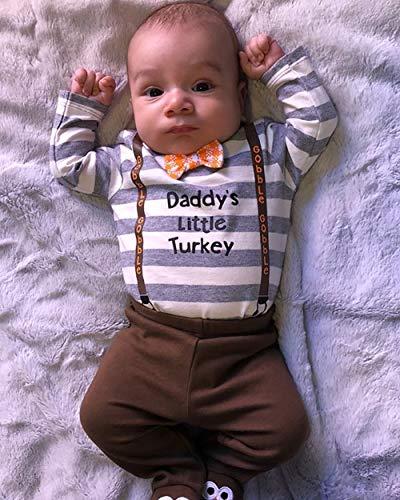 1beb97d9c12 Newborn Infant Baby Boy Girl 3pcs Thanksgiving Outfit Daddy s Little Turkey  Long Sleeve Romper Turkey Hat