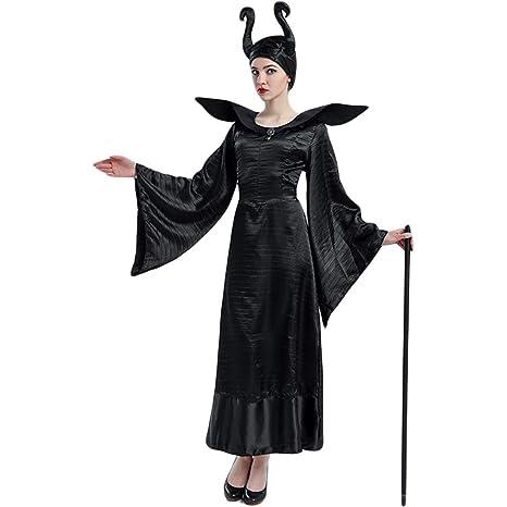 QWEASZER Mujer Maléfica Vestido Negro Disfraz de Halloween ...