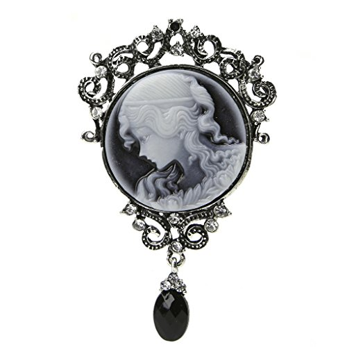 Pink-day Vintage Cameo Victorian Style Crystal Wedding Party Women Pendant Brooch (Cameo Pin Pendant Brooch)