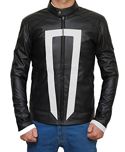 Ghost Rider Agents Of Shield Costume Ideas Black Synthetic Leather Jacket For Halloween XXXL