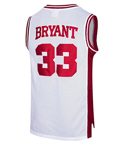 RAAVIN Mens #33 High School Basketball Jersey Bryant Basketball Jersey S-XXXL (White,X-Large)