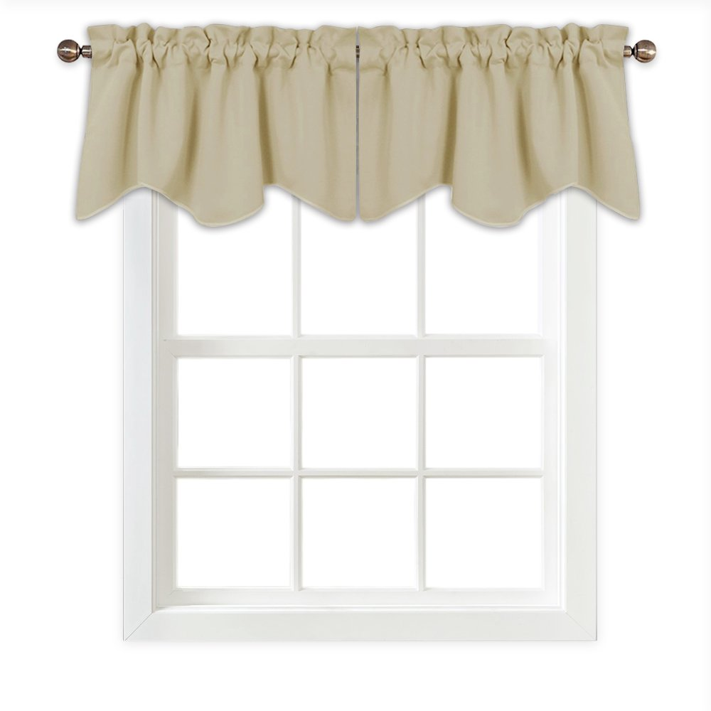 PONY DANCE Beige Window Valances - Scalloped Curtains Tiers Blackout Rod Pocket Half Drapes Home Decor Curtain Soft Fabric Small Windows Kitchen, 42'' x 18'', Beige, 2 Pieces