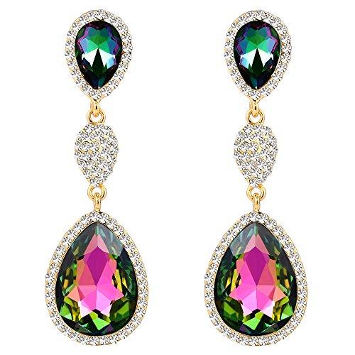FANZE Women's Gold-Tone Austrian Crystal Pave 3 Teardrop Wedding Bridal Pierced Dangle Earrings Vitrail - Austrian Vitrail Crystal
