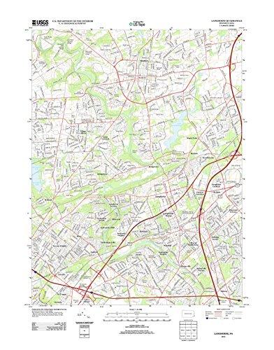 Topographic Map Poster - LANGHORNE, PA TNM GEOPDF 7.5X7.5 GRID 24000-SCALE TM 2010 17
