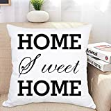 Ice jazz 100% Cotton Throw Pillow Case Home, Sweet Home Pillow Covers Inspirational Pillowcase Square Home Decorative Throw Cushion Cover for Car Sofa Bed Chair 18 x 18 inches