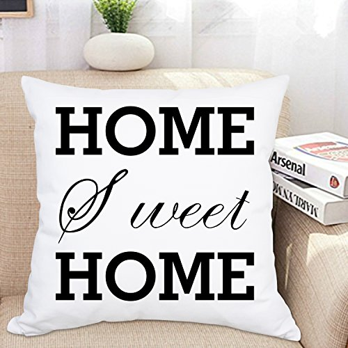 Ice jazz 100% Cotton Throw Pillow Case Home, Sweet Home Pillow Covers Inspirational Pillowcase Square Home Decorative Throw Cushion Cover for Car Sofa Bed Chair 18 x 18 inches by Ice jazz