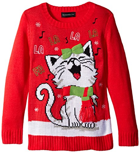 Blizzard Bay Big Girls' Happy Kitty Christmas Sweater, Red/White, Large ()