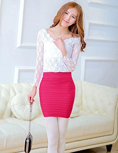 KA Belleza de la mujer falda de tubo por encima de rodilla para mujer mini falda ajustada corta Rosa Roja