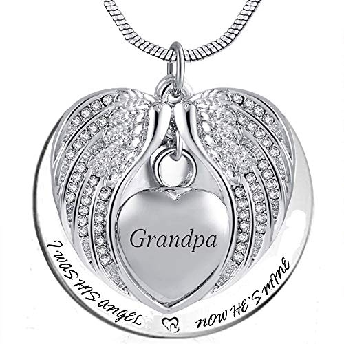 (PREKIAR Angel Wing Urn Necklace for Ashes, Heart Cremation Memorial Keepsake Pendant Necklace Jewelry with Fill Kit and Gift Box)