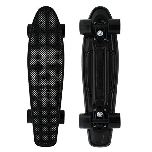 Merkapa Complete 22 inch Skull Style Skateboard for Kids, Beginners (Black)