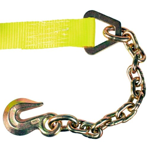 2'' X 30' Wide Handle Ratchet Strap with Chain Extensions & Clevis Grab Hooks