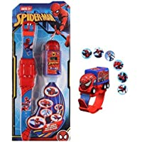 IndusBay® Spiderman Pull Back Truck Car Shaped 6 Images Projector Digital Toy Watch Fun Toy for Kids - Good Return Gift - for Kids Boys