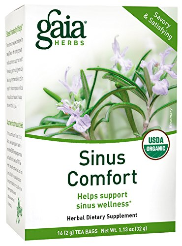Gaia Herbs Sinus Comfort Herbal Tea – Supports Sinus Wellness with Eucalyptus Essential Oil, USDA Organic Holy Basil (Tulsi) and Green Tea, 16 Tea Bags
