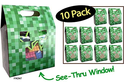 Pixel Party Favor Bags Boxes // Unique Gamer See-Thru Window // Show Off Your Minecraft Party Favors Candy or Treats // Thank You Goodie Bags // Kids Children Birthday Minecraft Loot Bags // 10 Pack