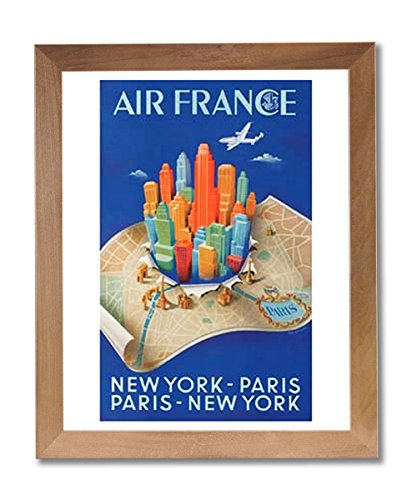 new-york-paris-air-france-vintage-poster-ad-wall-picture-honey-framed-art-print
