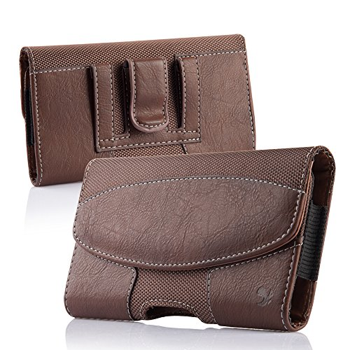2 Pack iNNEXT iPhone 8 Plus Pouch Case, Premium Horizontal Leather Case Pouch Holster with Magnetic Closure with Belt Clip Holster and Belt Loops for iPhone 7 Plus/6S Plus 5.5 inch (Brown/Black) by iNNEXT (Image #1)