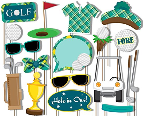 Golf Photo Booth Props Kit - 20 Pack Party Camera Props Fully (Golf Tournament Packages)