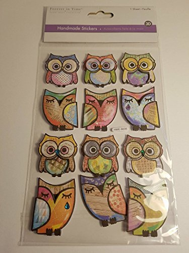 Multicraft Imports Boho Owls Handmade Themed 3D Stickers (Handmade Scrapbooking 3d Stickers)
