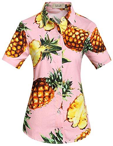 (SSLR Women's Pineapple Button Down Short Sleeve Cotton Hawaiian Shirts (Medium, Pink))