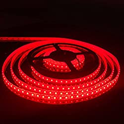 FAVOLCANO LED Light Strip, Red IP65 Waterproof LED Tape Light, SMD 3528, 600 LEDs 16.4 Feet(5M) LED Strip 120 LEDs/M Flexible Tape Lighting