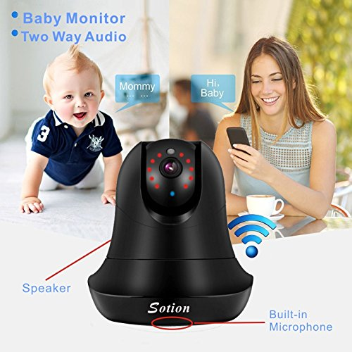 SOTION (2017 NEW) Internet WiFi Wireless Network IP Security Surveillance Video Camera System, Baby and Pet Monitor with Pan and Tilt, Two Way Audio & Night Vision (1080P)