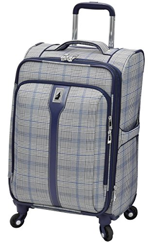 London Fog Knightsbridge Hl 21' Expandable Spinner, Grey/Navy Plaid