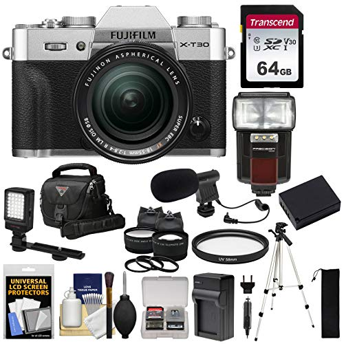 Fujifilm X-T30 Wi-Fi Digital Camera & 18-55mm XF Lens (Silver) + 64GB Card + Battery + Charger + Mic + LED Light + Tripod + Flash + Case + 2 Lens Kit