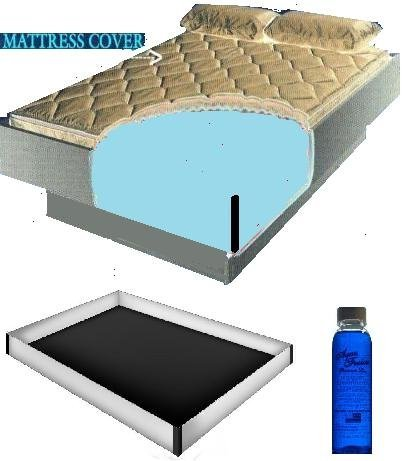 Queen Size 60x84 2000 Zipper Waterbed Mattress Cover w/ 12 mil Pro Max Water bed Safety Liner & 4oz Premium Clear Bottle Conditioner by Mattress Cover, Innomax, Premium (Image #1)