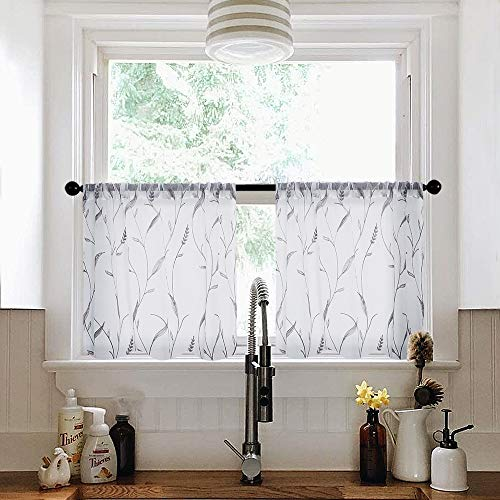 - MRTREES Sheer Embroidered Tiers 24 inches Long Sheer Curtains White Kitchen Tier Curtains Grey Wheat Spike Embroidery Cafe Curtains Bathroom Pole Top Short Window Treatment 2 Panels