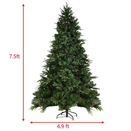 Goplus 7.5Ft Pre-Lit Artificial Christmas Tree Premium Spruce Hinged Tree w/ 540 LED Lights & Pine Cones by Goplus (Image #2)