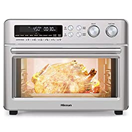 HISSUN Toaster Oven,26.4QT Convection Air Fryer Oven, 10 in 1 Dehydrator/Toast/Bake/Broil/Roast/Pizza Settings,1750W 6…