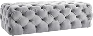TOV Furniture The Kaylee Collection Modern Style Living Room Jumbo Velvet Upholstered Button Tufted Ottoman, Grey