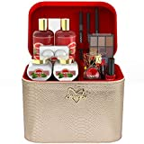 Premium Bath and Body Gift Basket For Women - 30 Piece Set, Pink Grapefruit Home Spa and Makeup Set, Includes Pencils, Lip Balm, Lipstick, Body Mist, Rose Gold Leather Cosmetic Bag & Much More