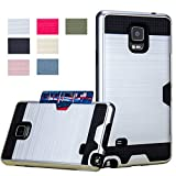 Galaxy Note 4 Case, Wallet AnoKe [Credit Card Slots Holder] Hard Silicone Rubber Hybrid Armor Shockproof Protective Holster Cover Case For Samsung Galaxy Note 4 - KLS Metal Slate - KLS Sliver