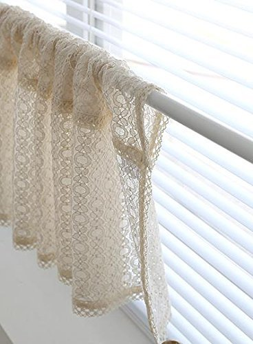 beige lace handmade natural cotton cafe curtain kitchen curtain valances european rural fashion window - Kitchen Curtain