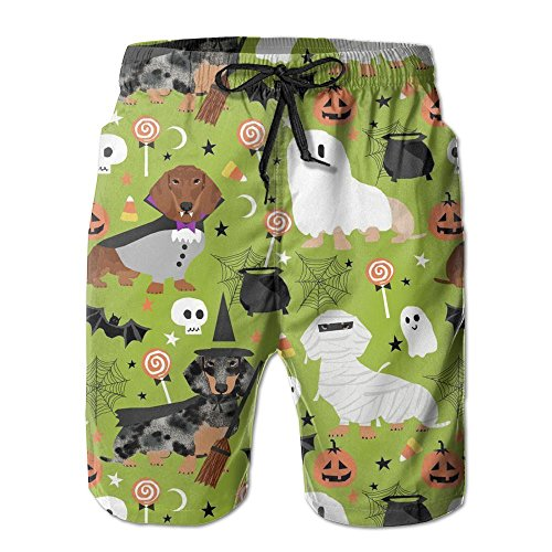 Henhao5 Dachshund Halloween Men's Swim Trunks Quick Dry Beach Shorts Beach Surfing Running Swimming Swim Shorts -