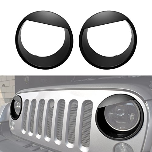 Allinoneparts Front Headlight Black Angry Bird Trim Cover Bezels Pair Jeep Wrangler Rubicon Sahara Sport JK Unlimited Accessories 2 door 4 door 2007-2017