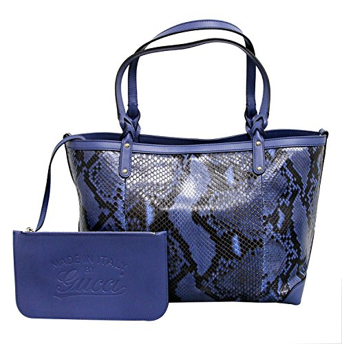 Gucci Craft Blue Python Tote Handbag Bag