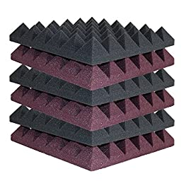 6 Pack - Burgundy/Charcoal Acoustic Foam Sound Absorption Pyramid Studio Treatment Wall Panels, 2\