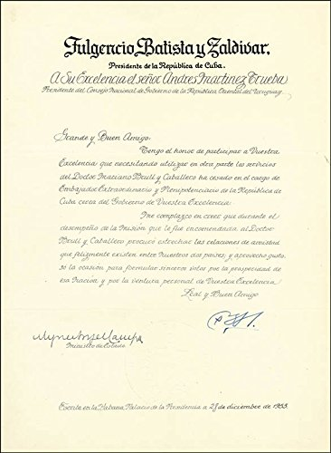 President Fulgencio Batista Zaldivar (Cuba) Manuscript Letter Signed 12/28/1953